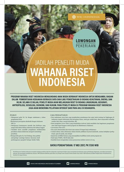 lowongan peneliti muda wahana riset indonesia wri