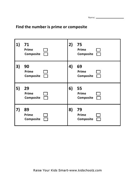 Prime And Composite Numbers Worksheet Grade 4 by Prime And Composite Numbers Worksheet 3 Kidschoolz