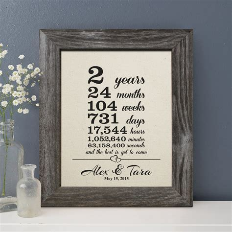 2 years together gift cotton print, 2nd Wedding