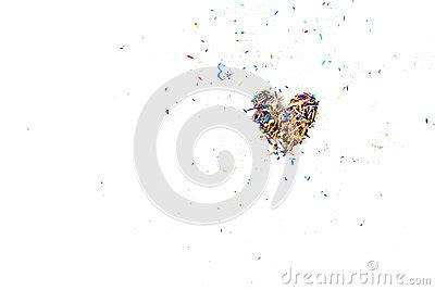 shave ypu in shape of heart colorful pencil shaving arrange to heart shape stock photo