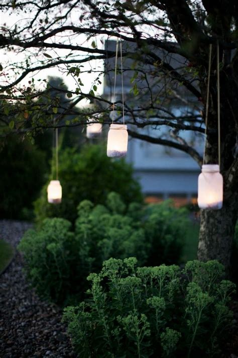handcrafted wisconsin wedding jars lights in trees and