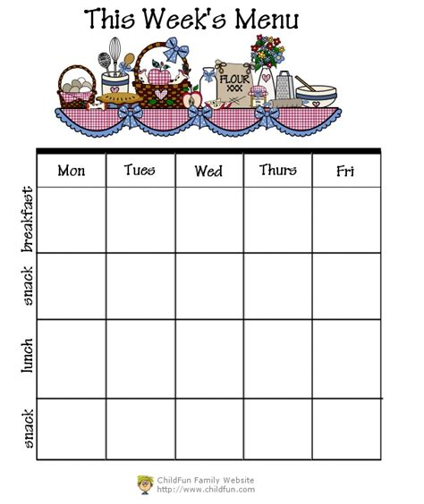 child care menu templates free miscellaneous forms printable forms childfun