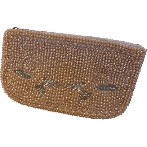 Faux Pearl Clutch vintage regal faux pearl beaded clutch purse evening bag