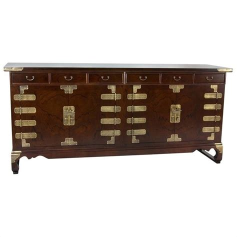 oriental korean antique style double cabinet credenza in