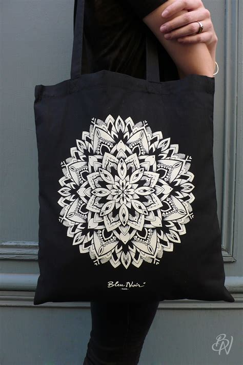 tote bag mandala bleu noir tattoo