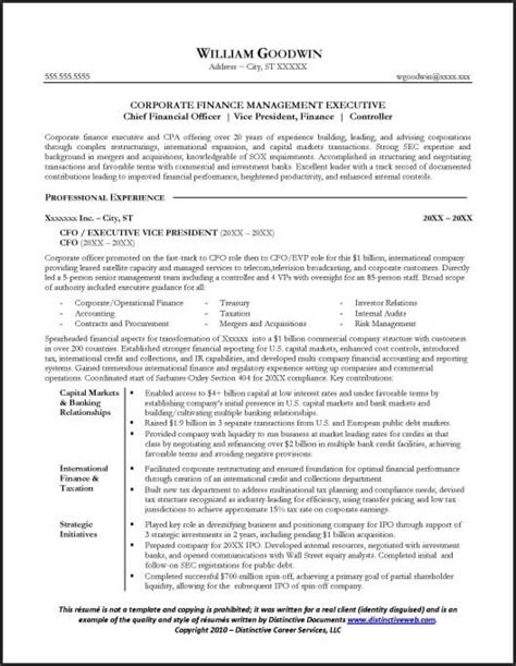 Executive Resume Sles Cfo Resume Sle For A Cfo