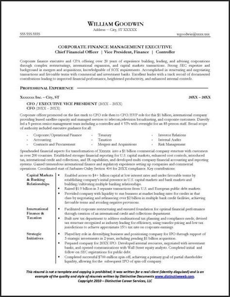 Resume Sample for a CFO