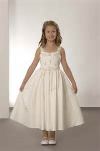 Short sleeve floor length bow satin white childrens bridesmaid dresses