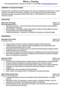 Accounting Internship Resume Sles senior accounting resume sle internships
