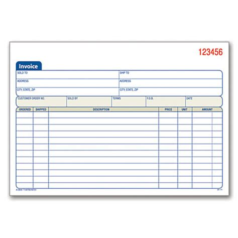 office depot templates carbonless invoice books 2 part 8 716 x 5 916 pack