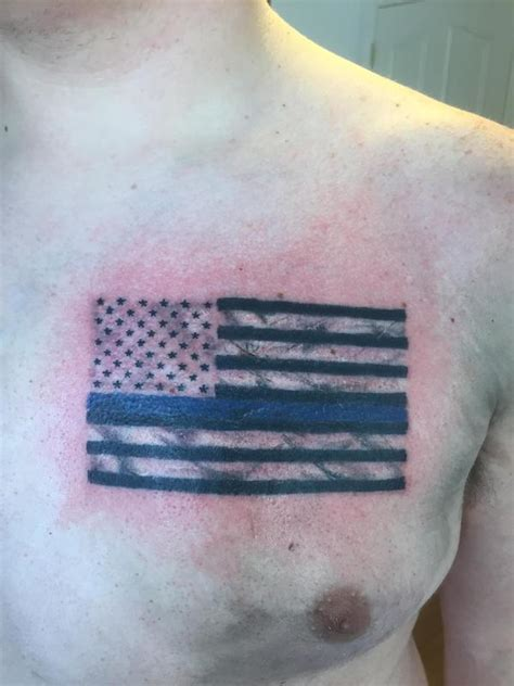 thin blue line tattoos thin blue line flag by jaisy ayers tattoonow
