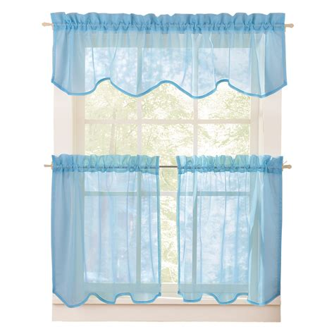 curtain and sheer set sheer curtain valance and tier set ebay
