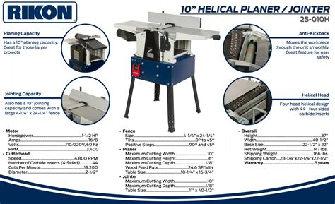 Rikon 10 Quot Helical Planer Jointer