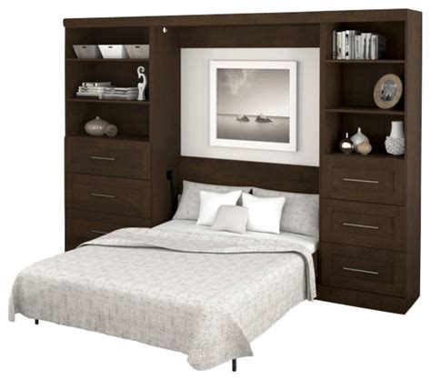 full size wall bed bestar pur full size wall bed in chocolate transitional