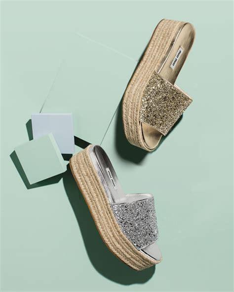 Sepatu Miu Miu Black Glitter Original miu miu glitter platform espadrille sandal slide neiman