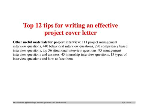 top tips writing effective project cover letter