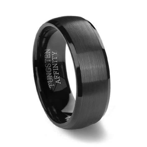 Wedding Bands Black by Black Brushed Domed Mens Tungsten Wedding Ring Black