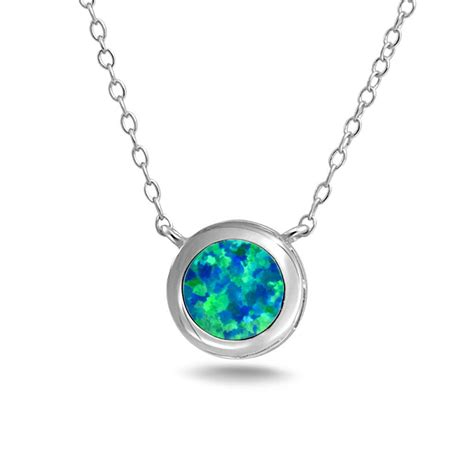 blue opal necklace bling jewelry 925 silver synthetic blue opal bezel set