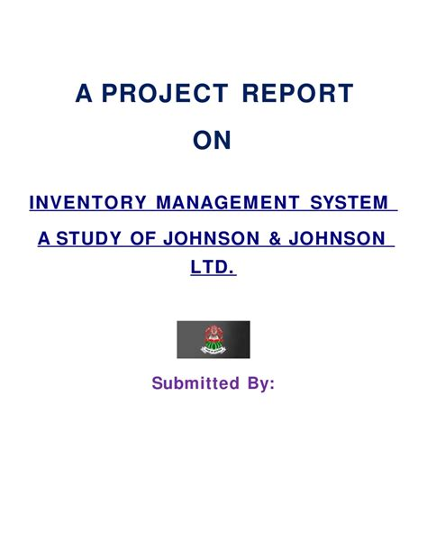 Project Management Project Report For Mba by A Project Report On Inventory Management System A Study Of