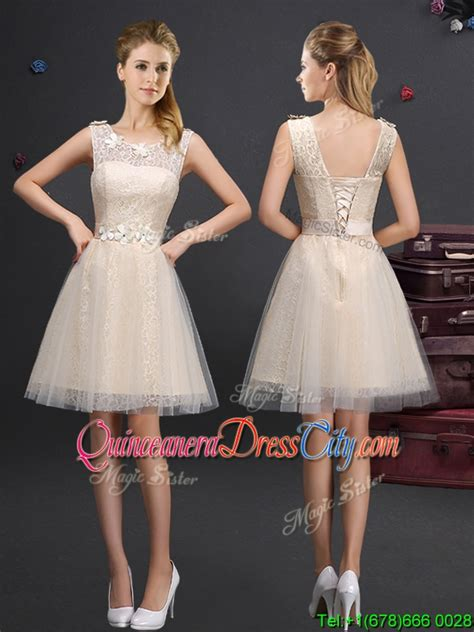 Lovely Champagne Dama  Ee  Dress Ee   With Appliques And  Ee  Lace Ee