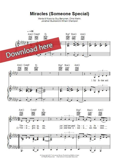 coldplay someone special coldplay miracles sheet music piano notes chords