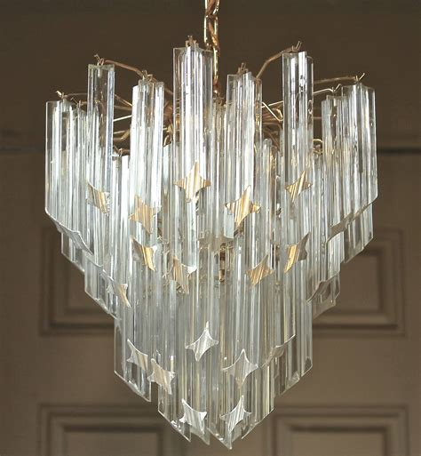 Glass Prisms For Chandeliers Venini Italian Triedi Prism Chandelier At 1stdibs