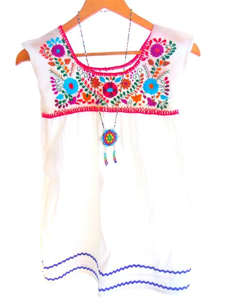Dress Tunic Baby snow white handmade embroidered cotton mexican baby tunic