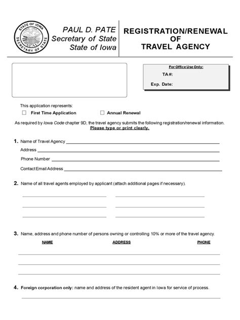 travel agency registration form 2 free templates in pdf