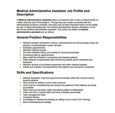 medical assistant job description template 10 free word