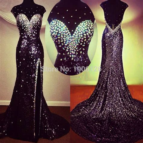 Sparkly Black sparkly black sequin prom dress with crystals evening