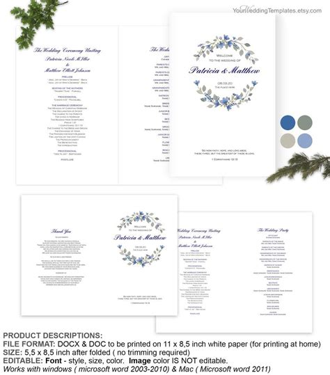 afforable blue floral rustic watercolor wedding program