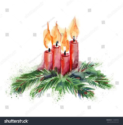 watercolor christmas candles stock illustration 116000959