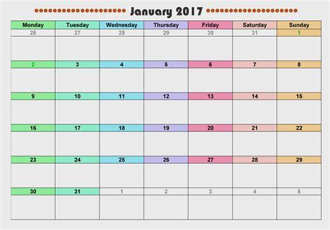 printable monthly calendar january 2017 january calendar 2017 colorful xmas