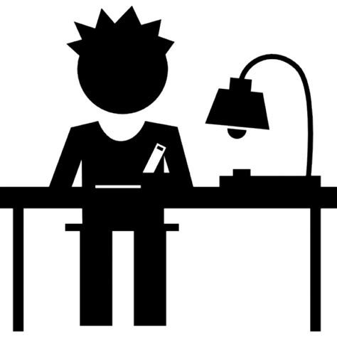 student writing desk student writing on his desk icons free