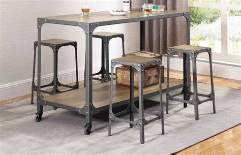 102998 kitchen island w 4 bar stools 5pc set by coaster