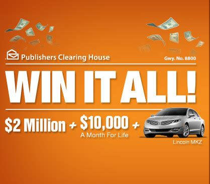 About Com Cash Sweepstakes - pch win it all 2 million plus 10 000 a month for life plus car