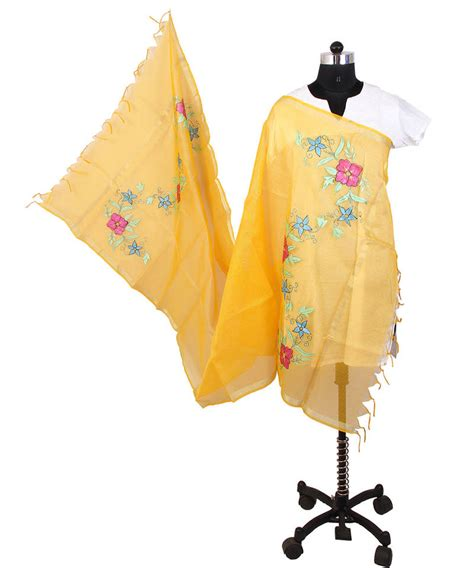 Self Background Check Buy Womens Cottage Golden Yellow Chanderi With Self Checks Painted Floral Design