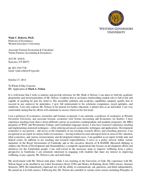 Recommendation Letter For Student From Professor Pdf Recommendation Letter Wade Pdf