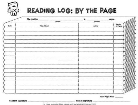 printable monthly reading log with parent signature book it reading log by the page free teaching resources