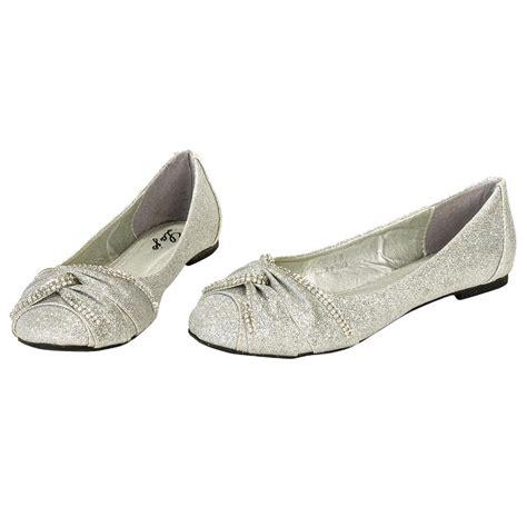 silver flat shoes womens s rhinestone glitter ballerina ballet flat