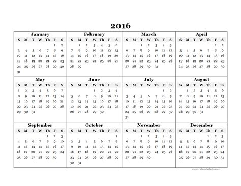 2016 calendar printable 2016 yearly calendar template 07 free printable templates