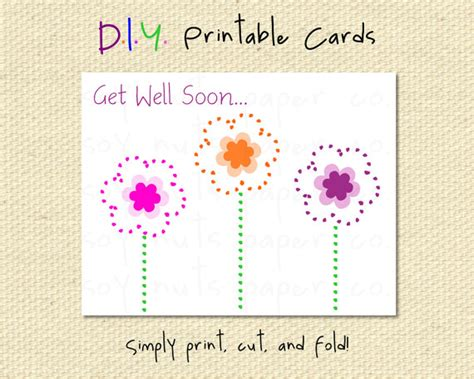 printable free get well cards items similar to get well soon purple pink and orange