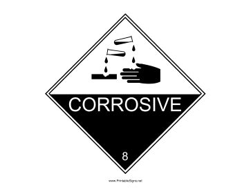 printable corrosive label printable corrosive warning sign sign