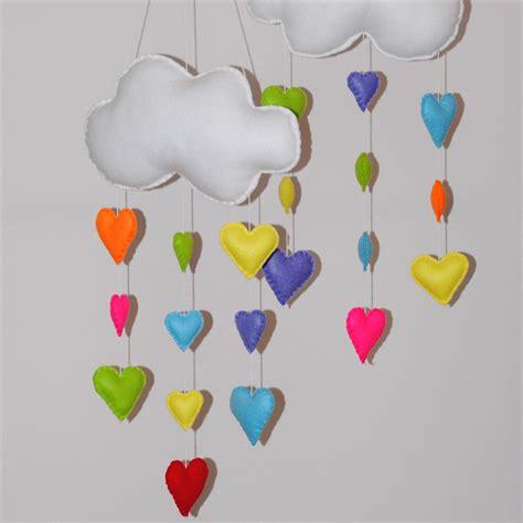 Handmade Baby Mobiles Australia - rainbow and hearts set of 3 nursery baby mobile razzle