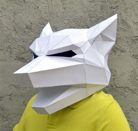 Papercraft Wolf Mask - make your own geometric animal mask bored panda