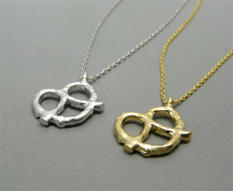 pretzel necklace gold pretzel pendant pretzel charm by