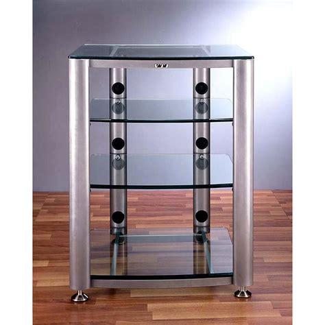 vti rack vti 4 shelf audio video rack silver frame with clear or black glass hgr404s