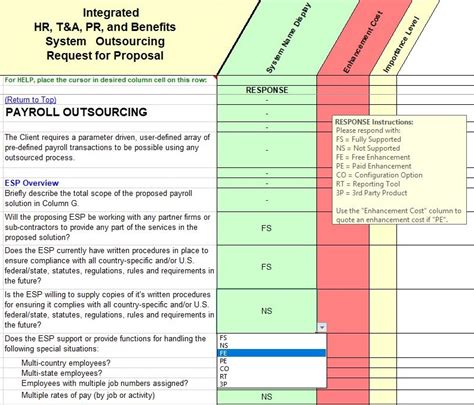 Hr Pr T A Outsourcing Rfp Evaluation Selection Payroll System Template