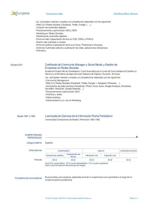 Modelo De Curriculum Vitae Europeo Junta De Castilla Y Curriculum Europeo