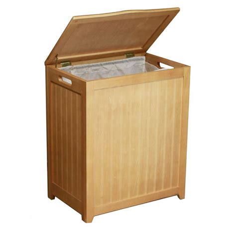 Oceanstar Rectangular Wood Laundry Her With Interior Wooden Laundry With Lid